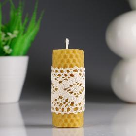 """Свеча из вощины """"Классика"""" с кружевом, медовая, 3,5×8 см"""