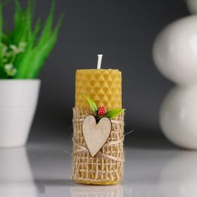 """Свеча из вощины """"Классика"""" с сердечеками, 4,5×8 см"""