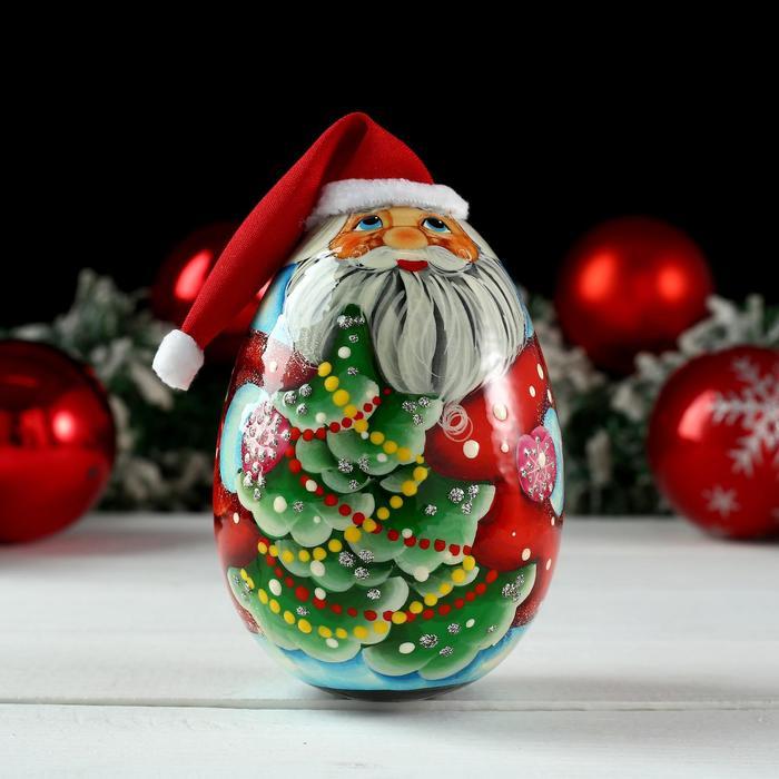 Неваляшка «Дед мороз с ёлкой», 11х6 см, ручная роспись