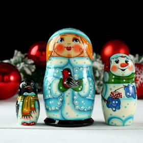"""Doll """"Snowmaiden with a bird"""", 3 puppet, 13h6 cm, hand painted"""
