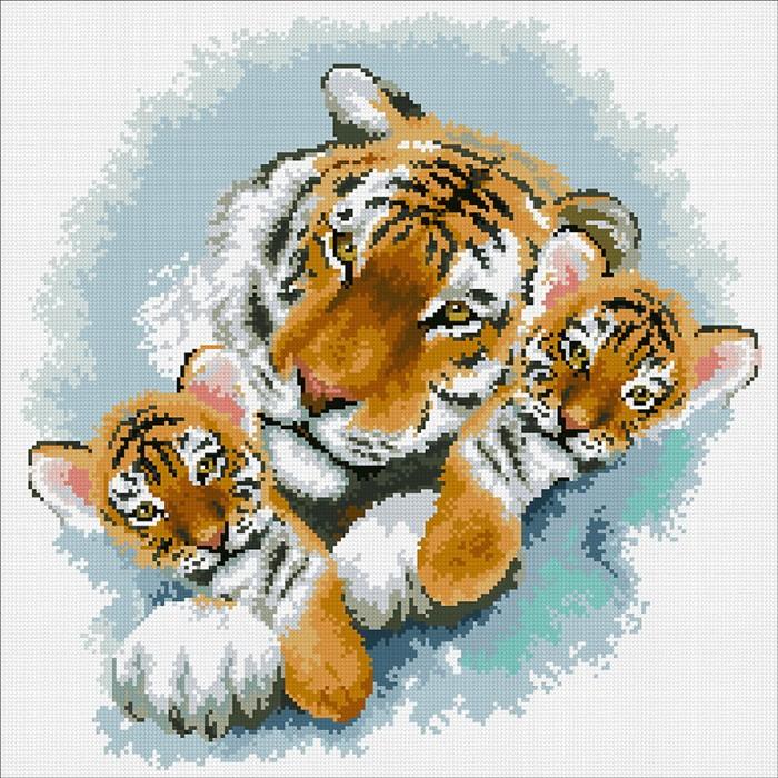Набор алмазной вышивки «Тигриная семейка»