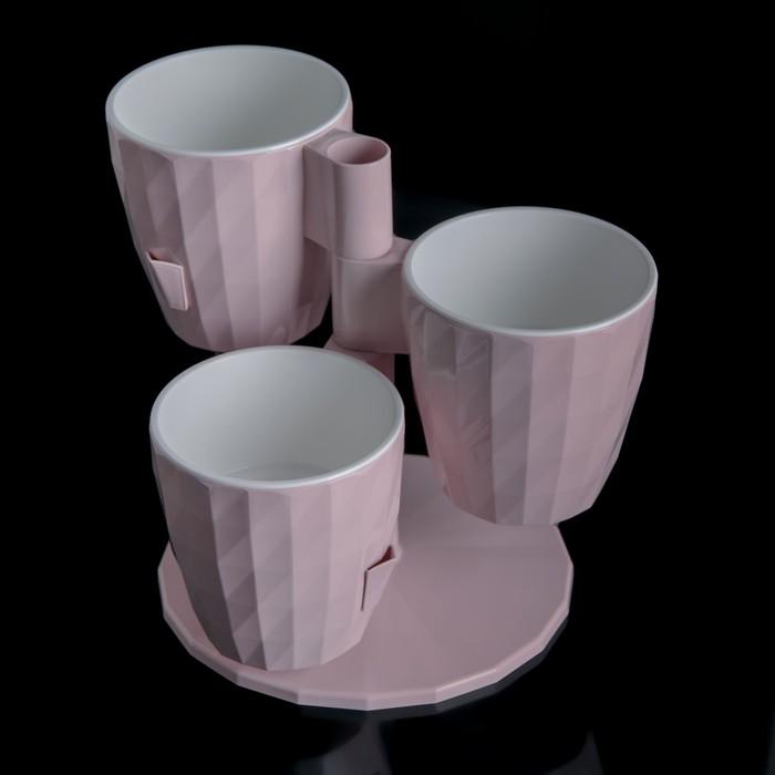 Кашпо многоярусное Ruby «Каскад», 3 шт, 1 л, цвет розовый - фото 998384