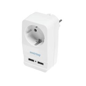 Адаптер-фильтр Smartbuy, 16 A, 1 гнездо, с заземлением, 2 USB 2.1 A