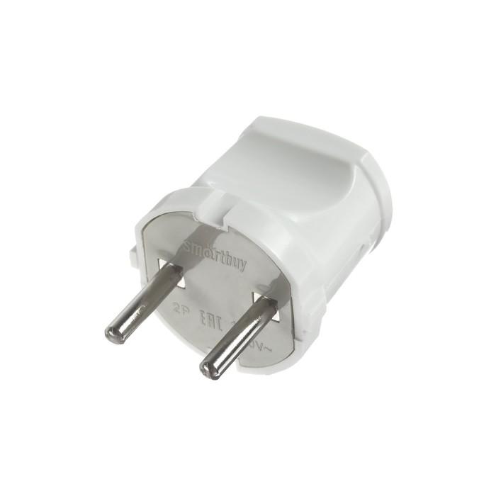 Вилка прямая Smartbuy, 10 А, 250 В, без з/к, белая