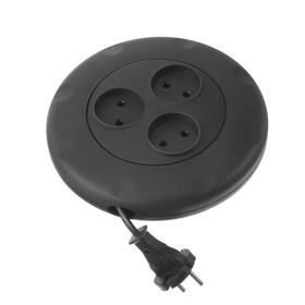 Удлинитель Smartbuy, 3 розетки, 3 м, 10 А, 2200 Вт, без заземления, круглый, черный