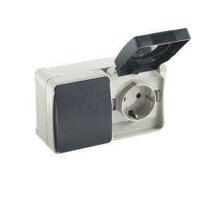 """Блок розетка выключатель Smartbuy """"Сатурн"""" , 16 А, 250 В, IP54, серый"""