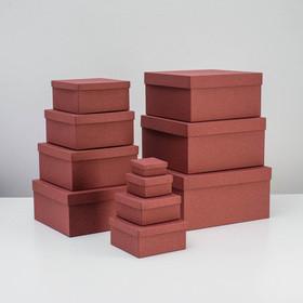 "Set boxes 11 in 1 ""Maroon carpet"", 25.5 x 25.5 x 13 - 5.5 x 5.5 x 2.5 cm"