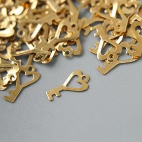 "Декор для творчества металл ""Ключик с сердцем"" золото набор 200 шт 0,9х0,5 см"