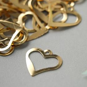 """Декор для творчества металл """"Сердце"""" золото набор 100 шт 1,8х1,8 см"""