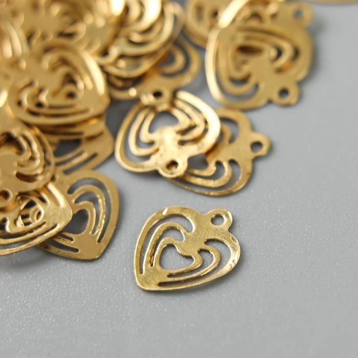 """Декор для творчества металл """"Тройное сердце"""" золото набор 200 шт 0,8х0,8 см - фото 705152374"""