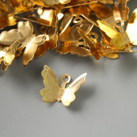 "Декор для творчества металл ""Бабочка"" золото набор 50 шт 1,1х1,1 см"