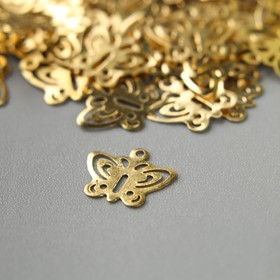 """Decor art metal """"Butterfly with round wings"""" gold, set of 100 PCs 1x0. 8 cm"""