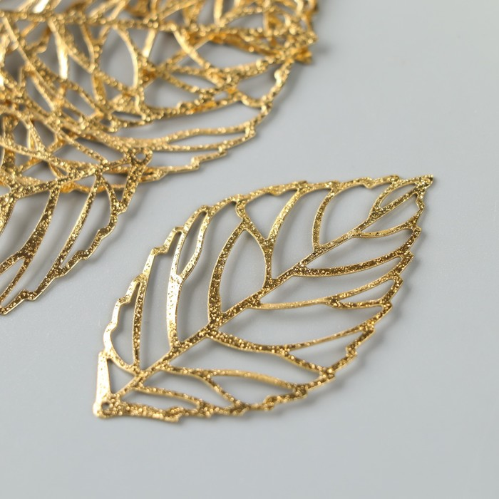 "Декор для творчества металл ""Лист с прожилками"" золото набор 10 шт 5,3х3,2 см - фото 700701235"