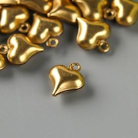 """Декор для творчества металл """"Пузатое сердечко"""" золото набор 50 шт 0,9х0,9 см"""