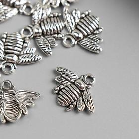 "Decor art metal ""Bee"" silver 1. 6x2. 1 cm"
