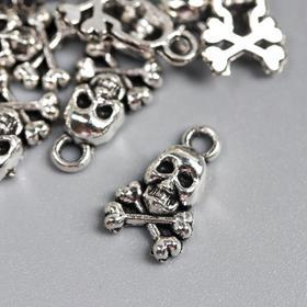"Декор для творчества металл ""Череп с костями"" серебро 1,3х0,8 см"