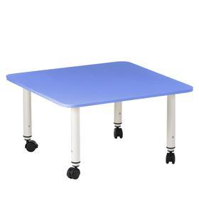 Стол детский регулируемый Подкатной, группа 0-3, 700х700, Синий