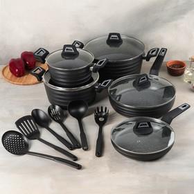 Набор посуды, 5 предметов: сковороды 28/24 см, кастрюли 20/24/28 см, стеклянные крышки