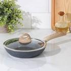 Сковорода кованая Huochu, 20×4,5 см, стеклянная крышка, индукция - фото 739568