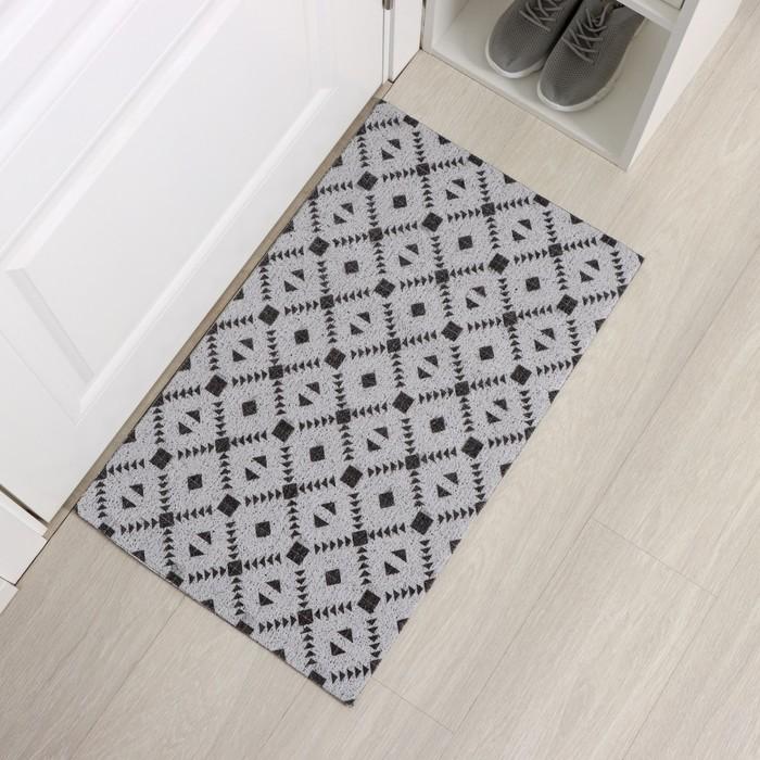 "The Mat for doorway 45х75 cm ""Diamonds"" color black and white"
