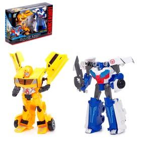 Набор трансформеров «Автоботы», 2 штуки, цвет сине-белый и жёлтый