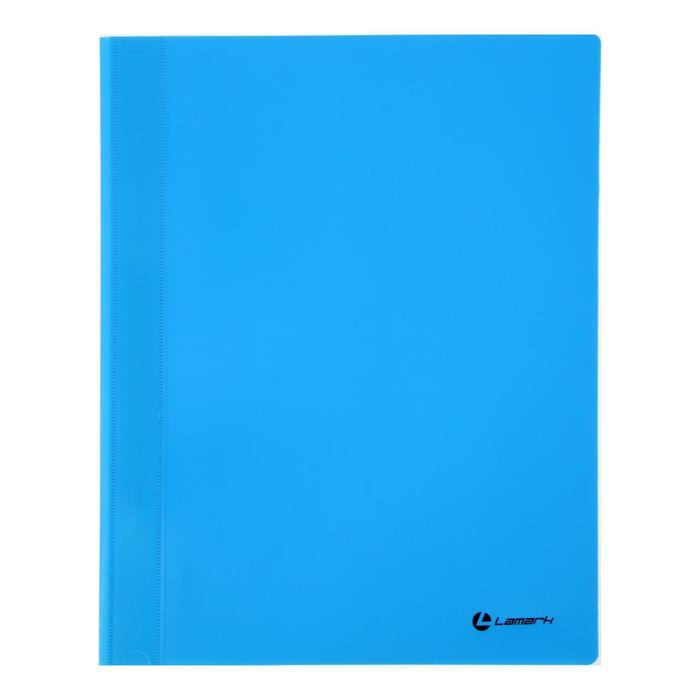 Папка-скоросшиватель А4 Lamark, непрозрачный верх, внутр.карман, 30мкм, синяя