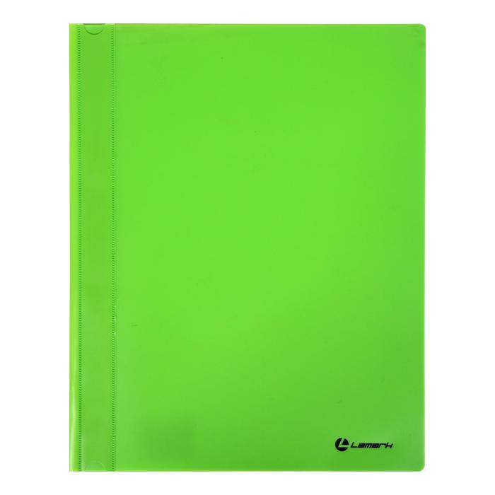 Папка-скоросшиватель А4 Lamark, непрозрачный верх, внутр.карман, 30мкм, зеленая