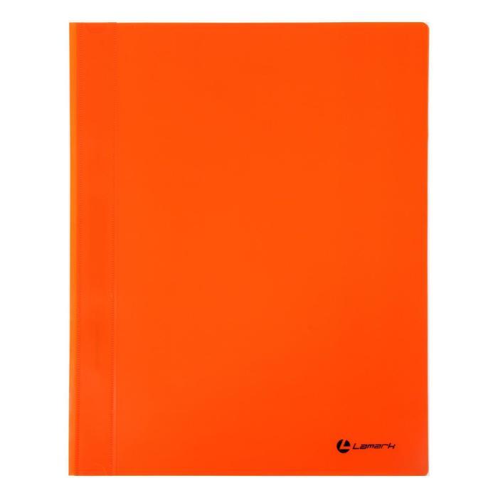 Папка-скоросшиватель А4 Lamark, непрозрачный верх, внутр.карман, 30мкм, оранжевая