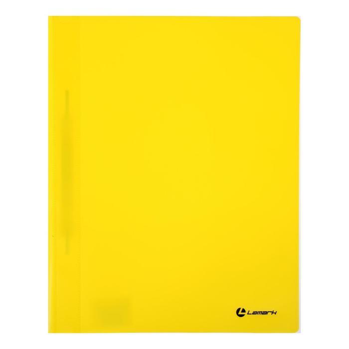 Папка-скоросшиватель А4 Lamark, непрозрачный верх, внутр.карман, 30мкм, желтая