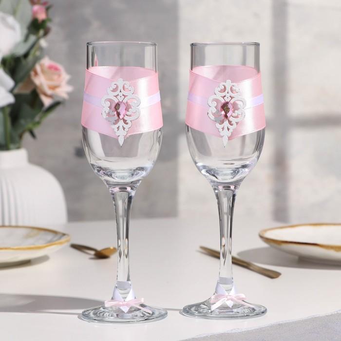 """Набор свадебных бокалов """"Прага"""", ручной работы, белый - розовый пастель, 6х6х20,5 см, 2 шт. - фото 489437"""