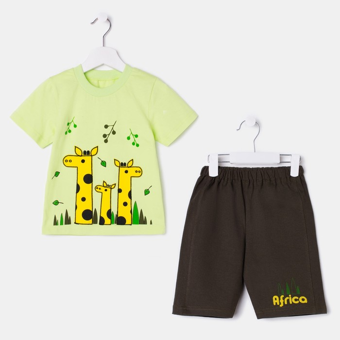 Комплект для мальчика (футболка, шорты), цвет зелёный/хаки, рост 110 см (60)