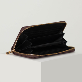 Кошелёк женский, 3 отдела на молнии, цвет коричневый - фото 56388
