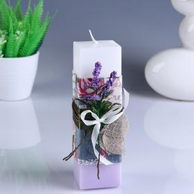 """Свеча- куб """"Прованс"""" бело- сиреневая, с декором, 4,7×17 см"""