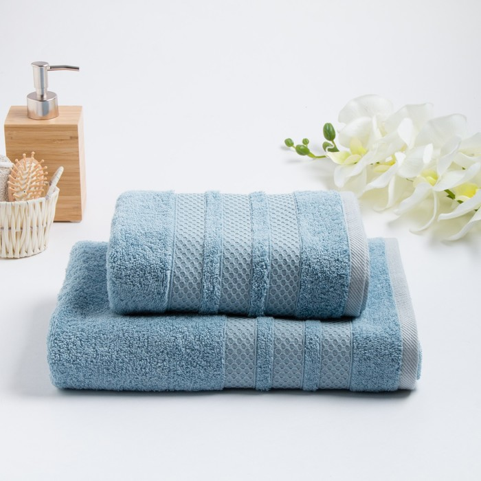 Комлпект махровых полотенец «DOGUS» 50х90, 70х130 см, цвет голубой