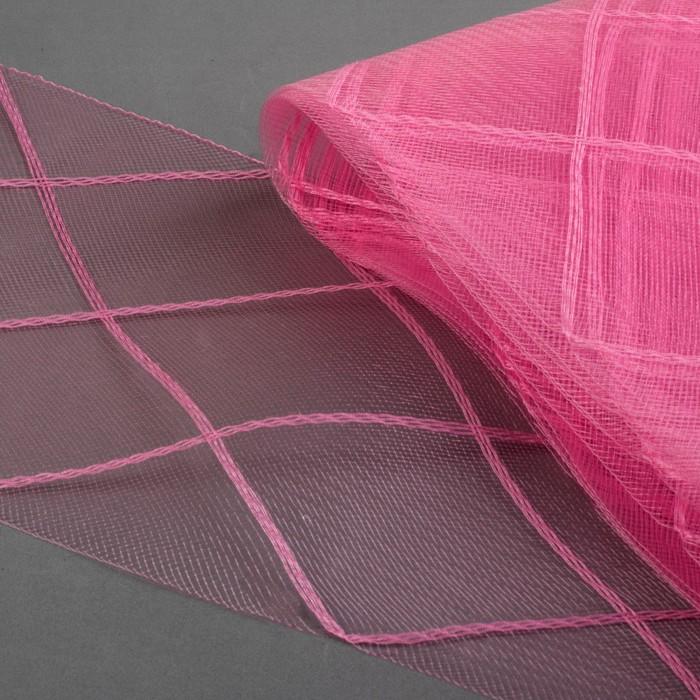 Регилин плоский «Клетка большая»,160 мм, 5 ± 0,5 м, цвет розовый