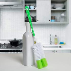 Ёршик для посуды с губкой, 36×7 см, цвет МИКС