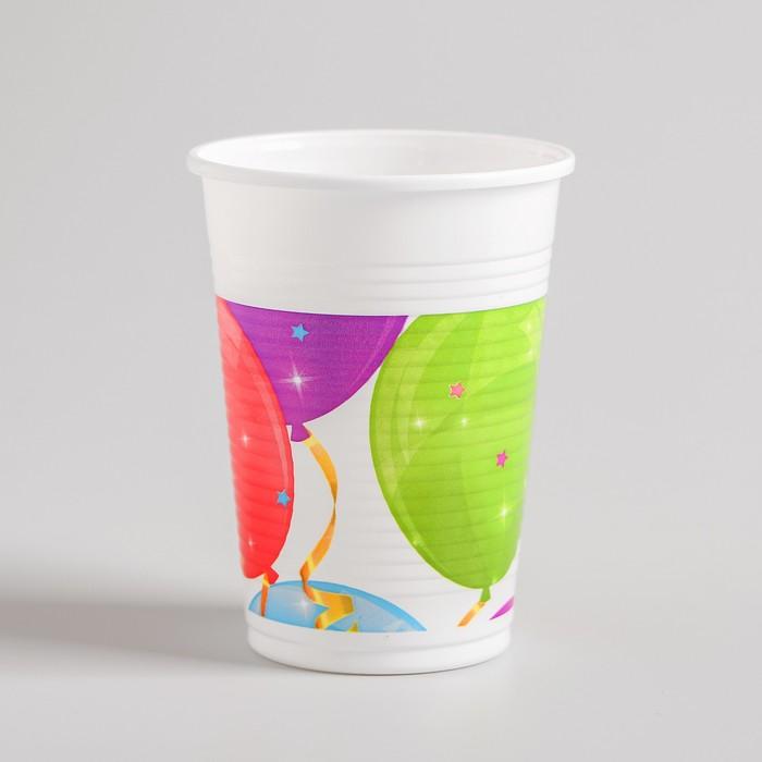 Стакан пластиковый «Сверкающие шары», набор 8 шт., 200 мл - фото 105518715