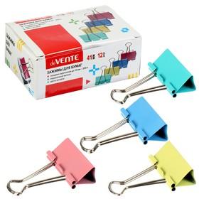 Зажимы для бумаг 41 мм, 12 штук, deVENTE, металлические, микс х 4 цвета, картонная коробка
