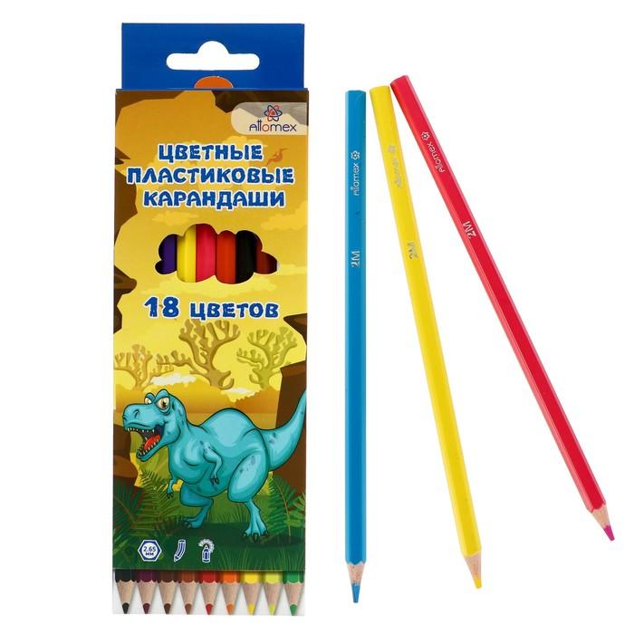 Карандаши 18 цветов, Attomex Dino World, 2B, шестигранные пластиковые, d=2.65 мм, в картонной коробке
