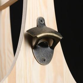 Ящик для пива 19×18×30 см  с открывашкой, под 4 бутылки, деревянный