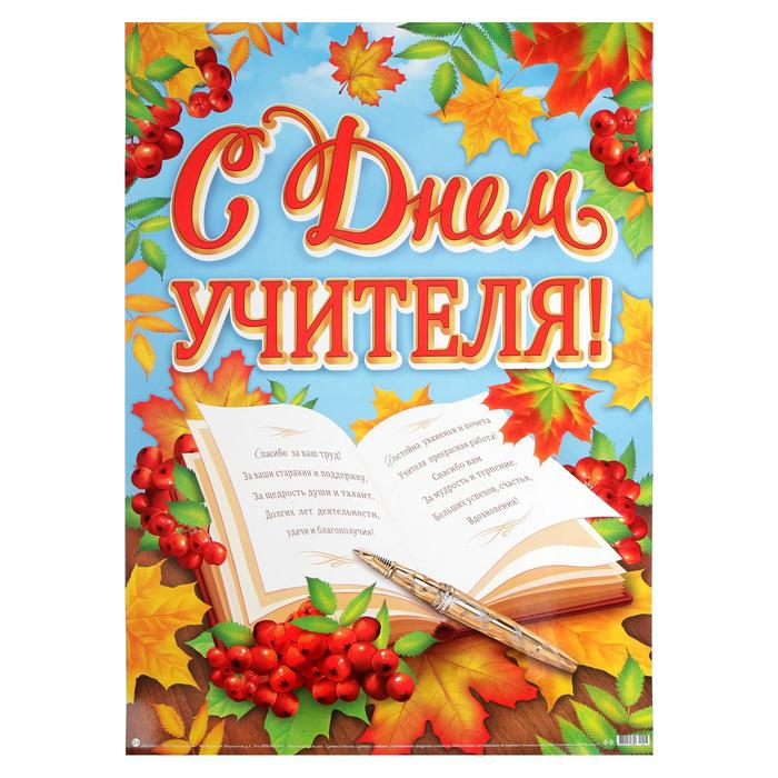 """Плакат """"С Днём Учителя!"""" книга, ягоды рябины, А2"""