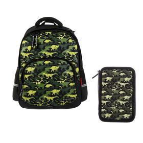 Рюкзак школьный Bruno Visconti, 40 х 30 х 19 см, эргономичная спинка, «Динозавры. Паттерн»