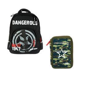 Рюкзак школьный Bruno Visconti, 40 х 30 х 19 см, эргономичная спинка, «Милитари 7,62 мм»