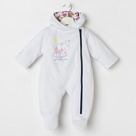 Комбинезон детский, цвет белый/принт МИКС, рост 62 см