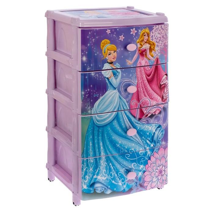"""Комод для игрушек """"Принцессы. Дисней"""" на колесиках, 4 выдвижных ящика"""