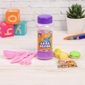 """Набор аквапеска""""Вкуснятина""""с игрушками, песок фиолет.100 гр,гидрогель15 гр,лопатки,в пакете"""