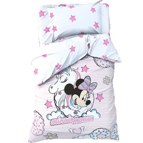 """Детское постельное бельё 1,5 сп """"Minnie Mouse"""" с единорогом, 143*215 см, 150*214 см, 50*70 см -1 шт, поплин"""