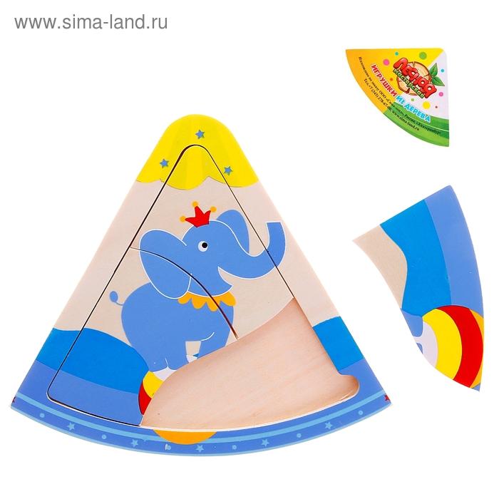 """Пазл малый треугольный """"Слон в цирке"""", 3 элемента"""