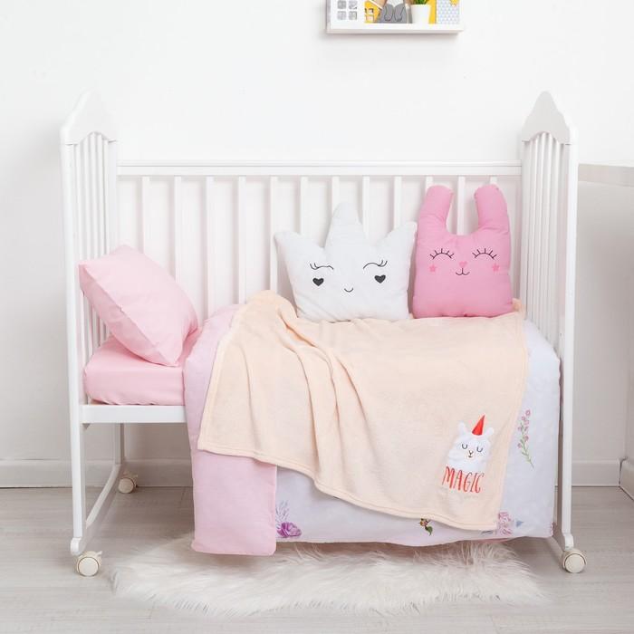 "Одеяло-плед с вышивкой ""Крошка Я"" Magic, 90х100 см, велсофт"