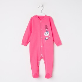 Комбинезон для девочки, цвет розовый/кошка, рост 74 см